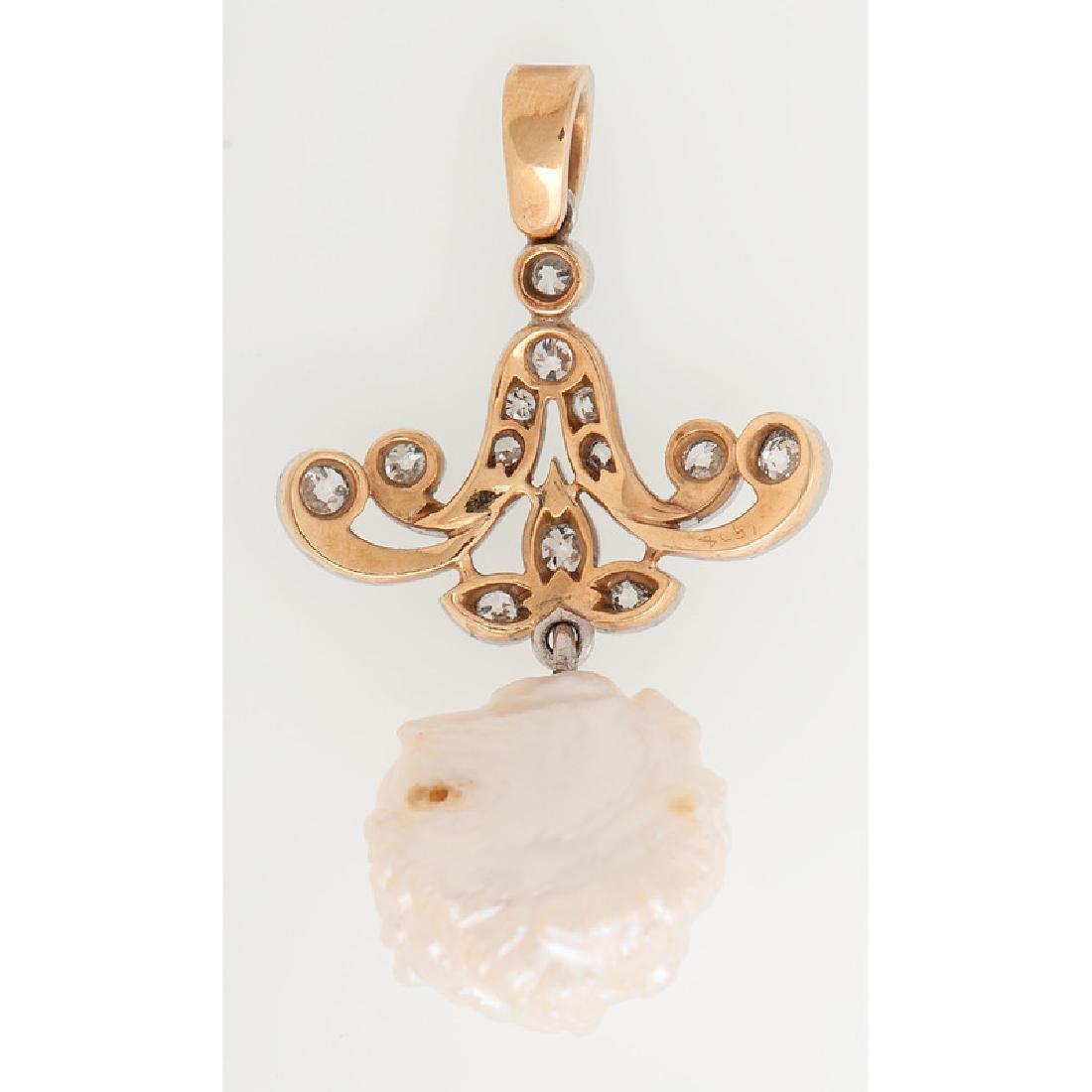 Platinum Over 18 Karat Gold Edwardian Diamond and Pearl - 3