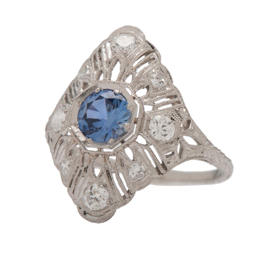 Platinum Sapphire and Diamond Filigree Ring