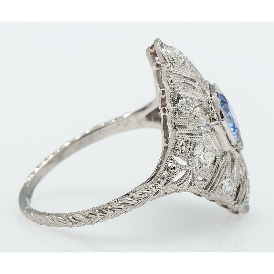 Platinum Sapphire and Diamond Filigree Ring - 2