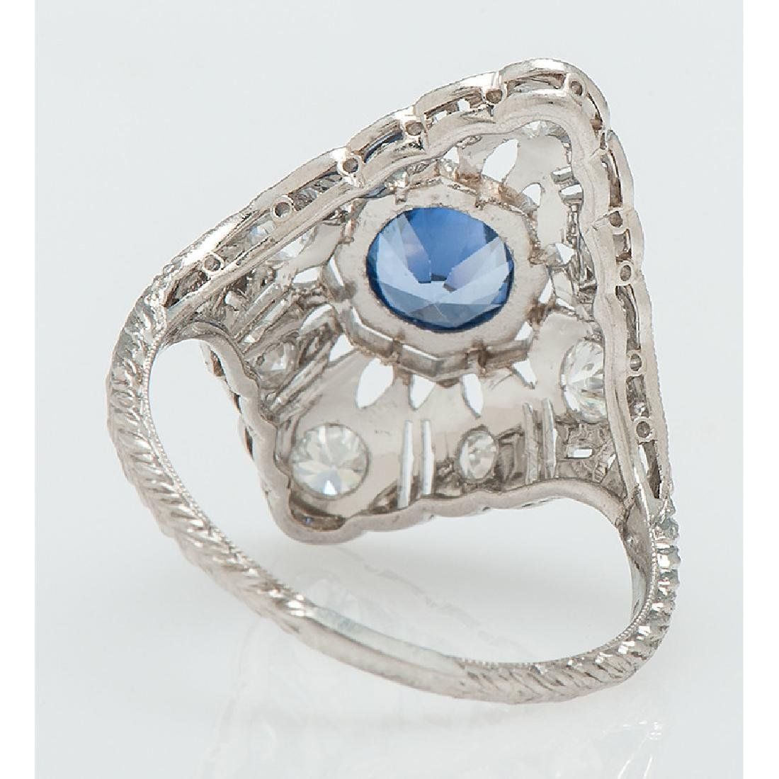 Platinum Sapphire and Diamond Filigree Ring - 3