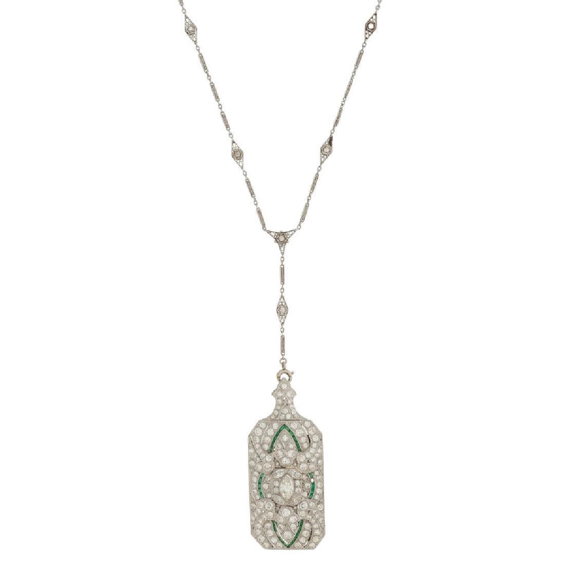 Platinum Diamond Art Deco Necklace/Brooch