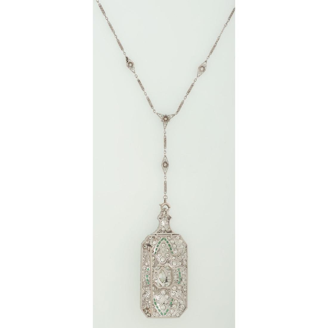 Platinum Diamond Art Deco Necklace/Brooch - 3