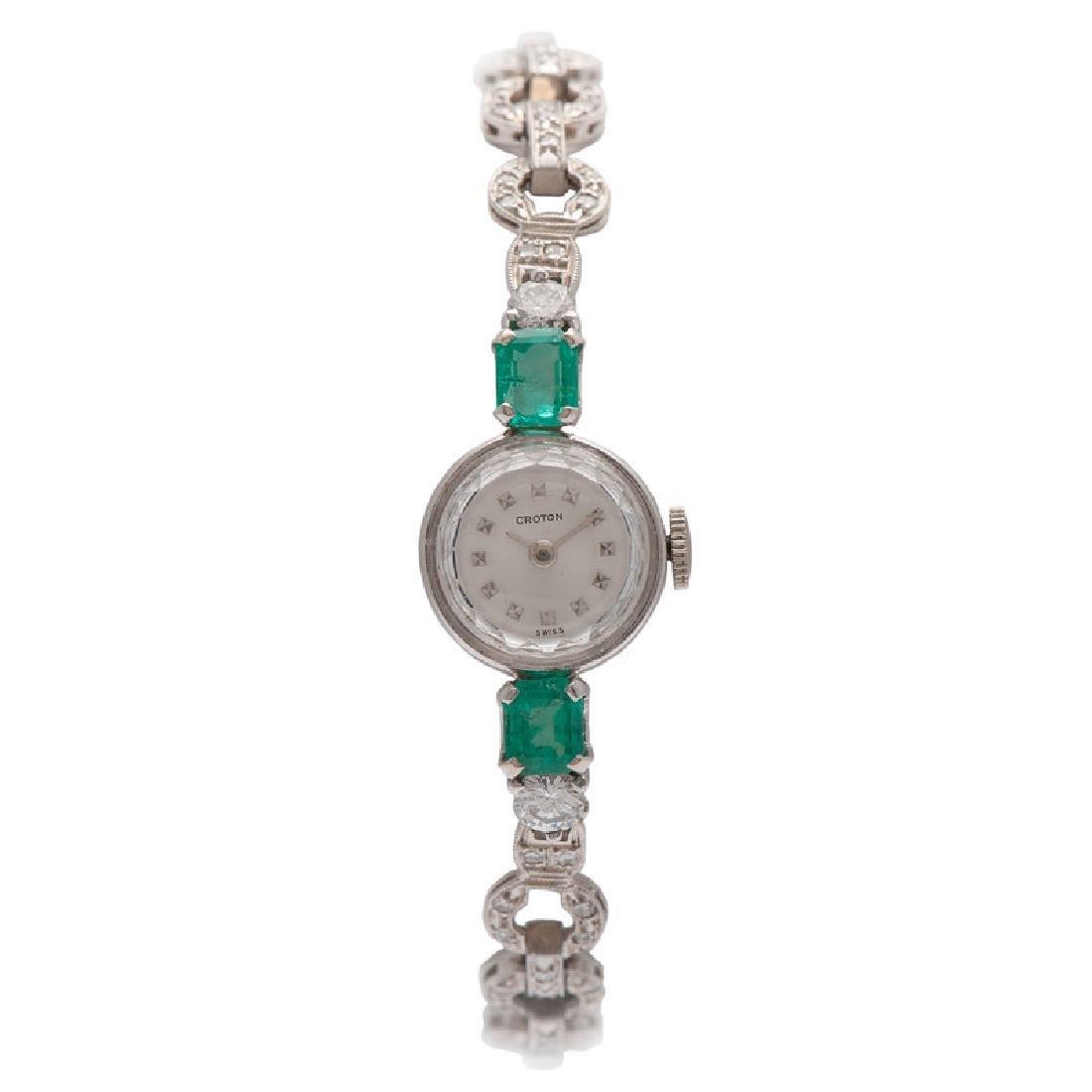 Croton Platinum and White Gold Wrist Watch