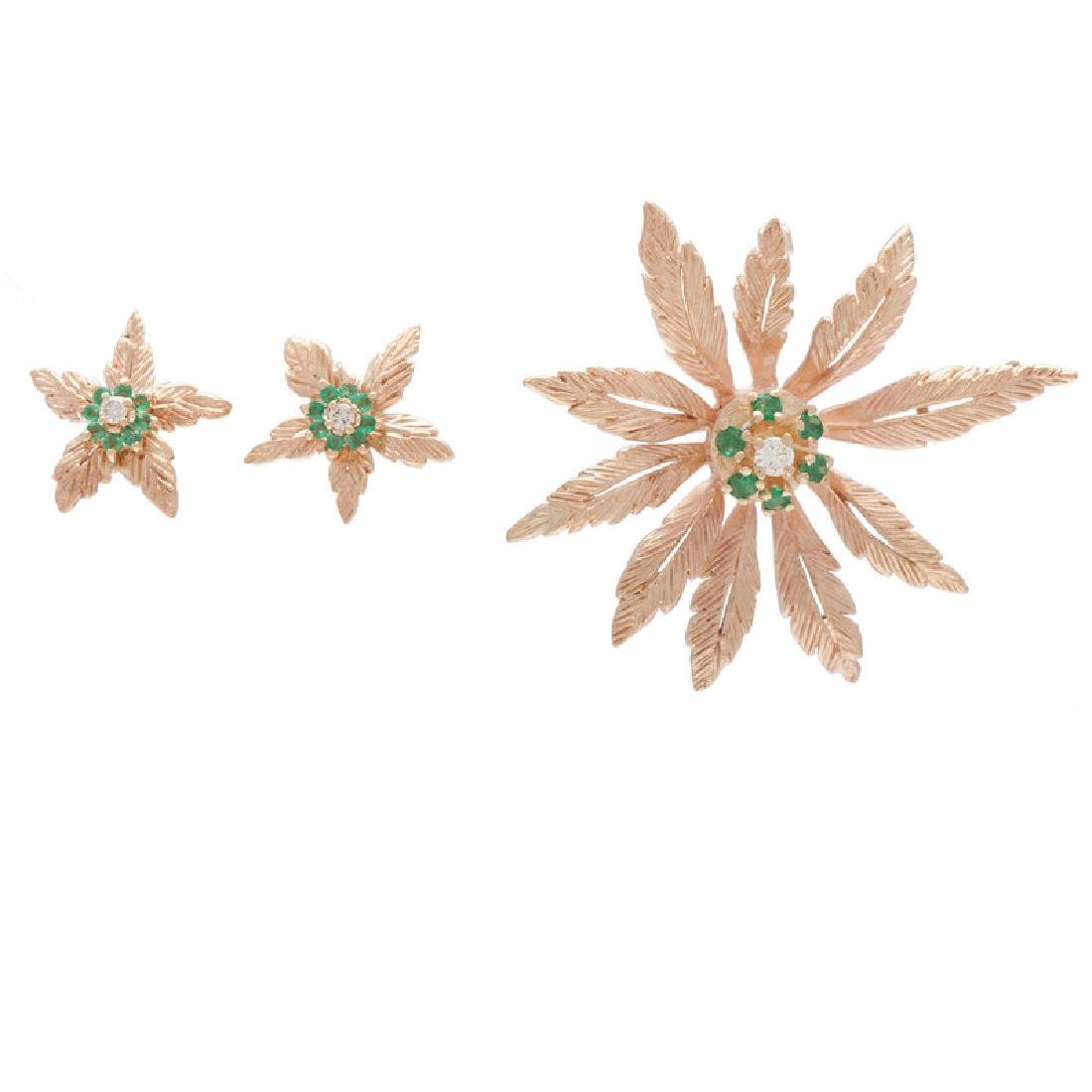 Karat Gold Diamond and Emerald Earrings and