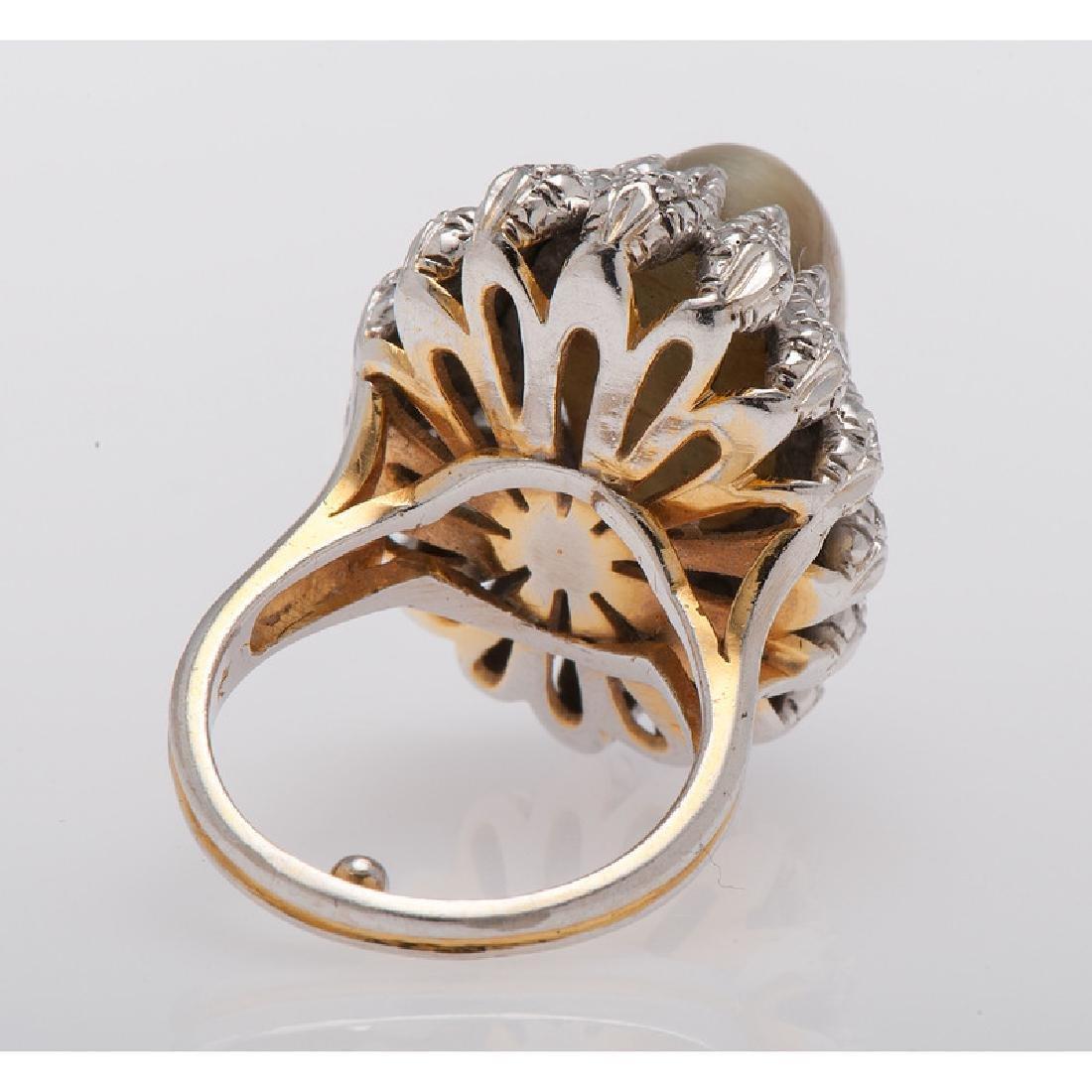 14 Karat Gold Cat's Eye Chrysoberyl Diamond Ring - 2