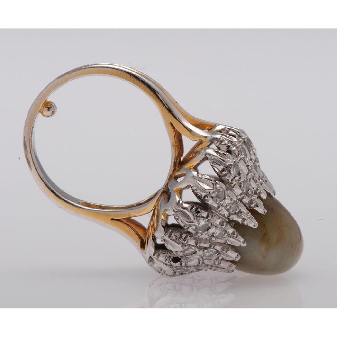 14 Karat Gold Cat's Eye Chrysoberyl Diamond Ring - 3