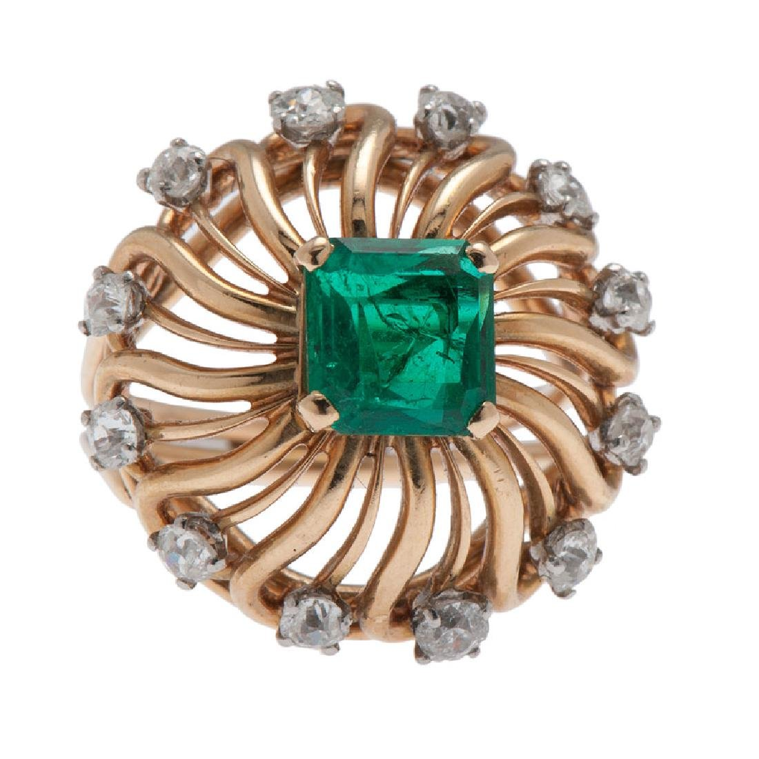 Mellerio 18 Karat Yellow Gold Emerald and Diamond Ring
