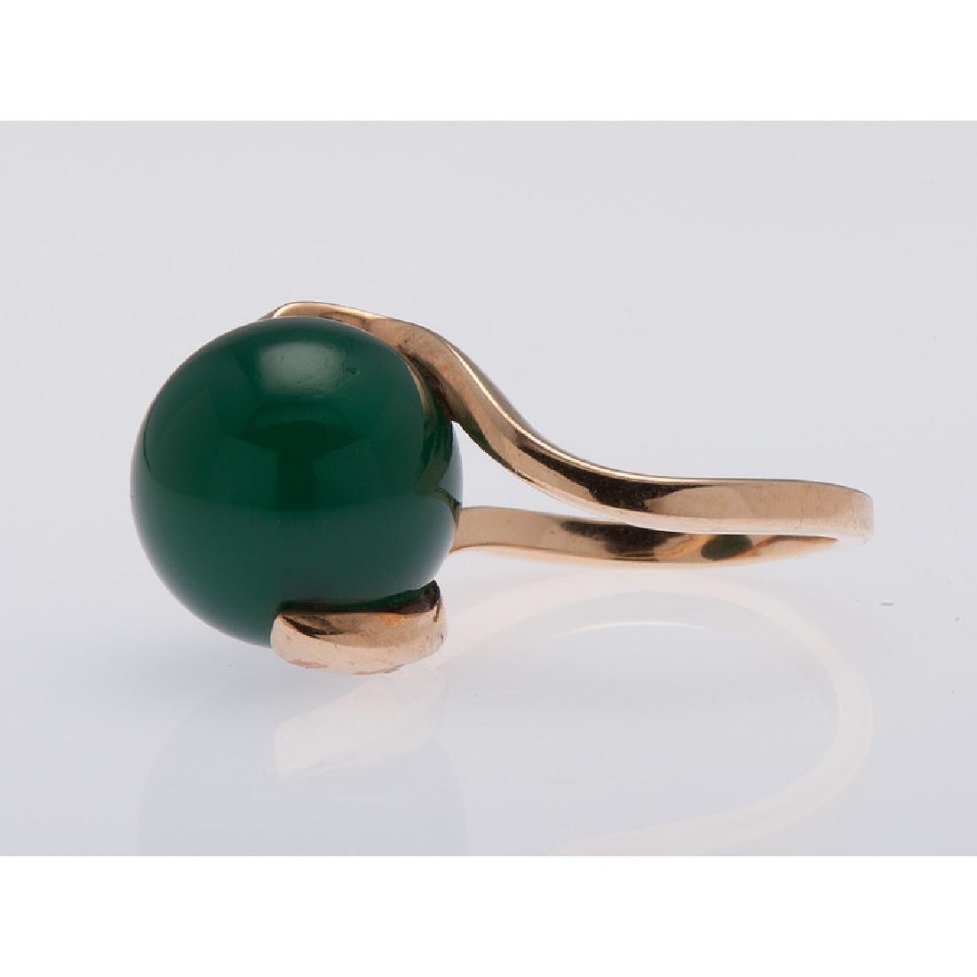 14 Karat Yellow Gold Green Onyx Ring - 3