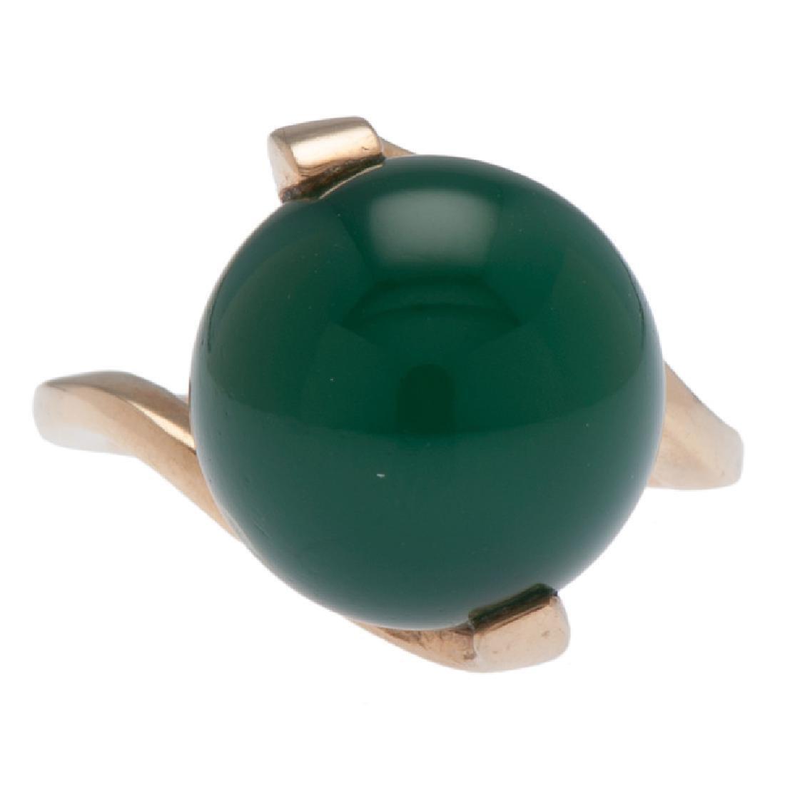 14 Karat Yellow Gold Green Onyx Ring - 4