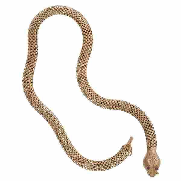 18 Karat Yellow Gold Vintage Serpent Snake Necklace