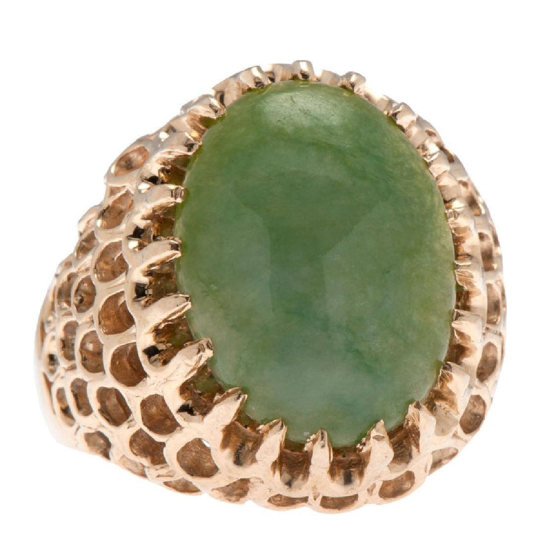 14 Karat Yellow Gold Jade Ring