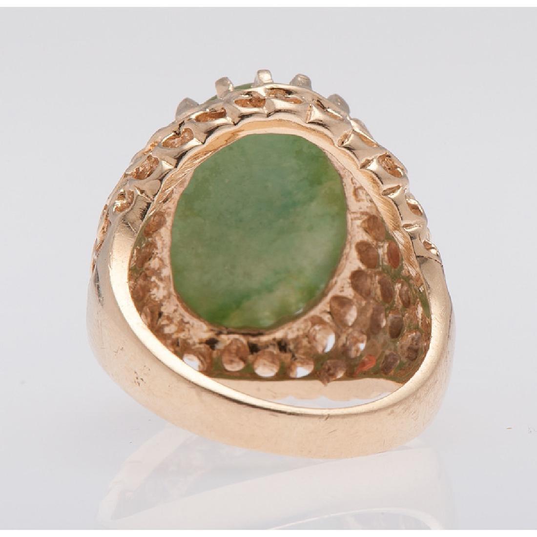14 Karat Yellow Gold Jade Ring - 3