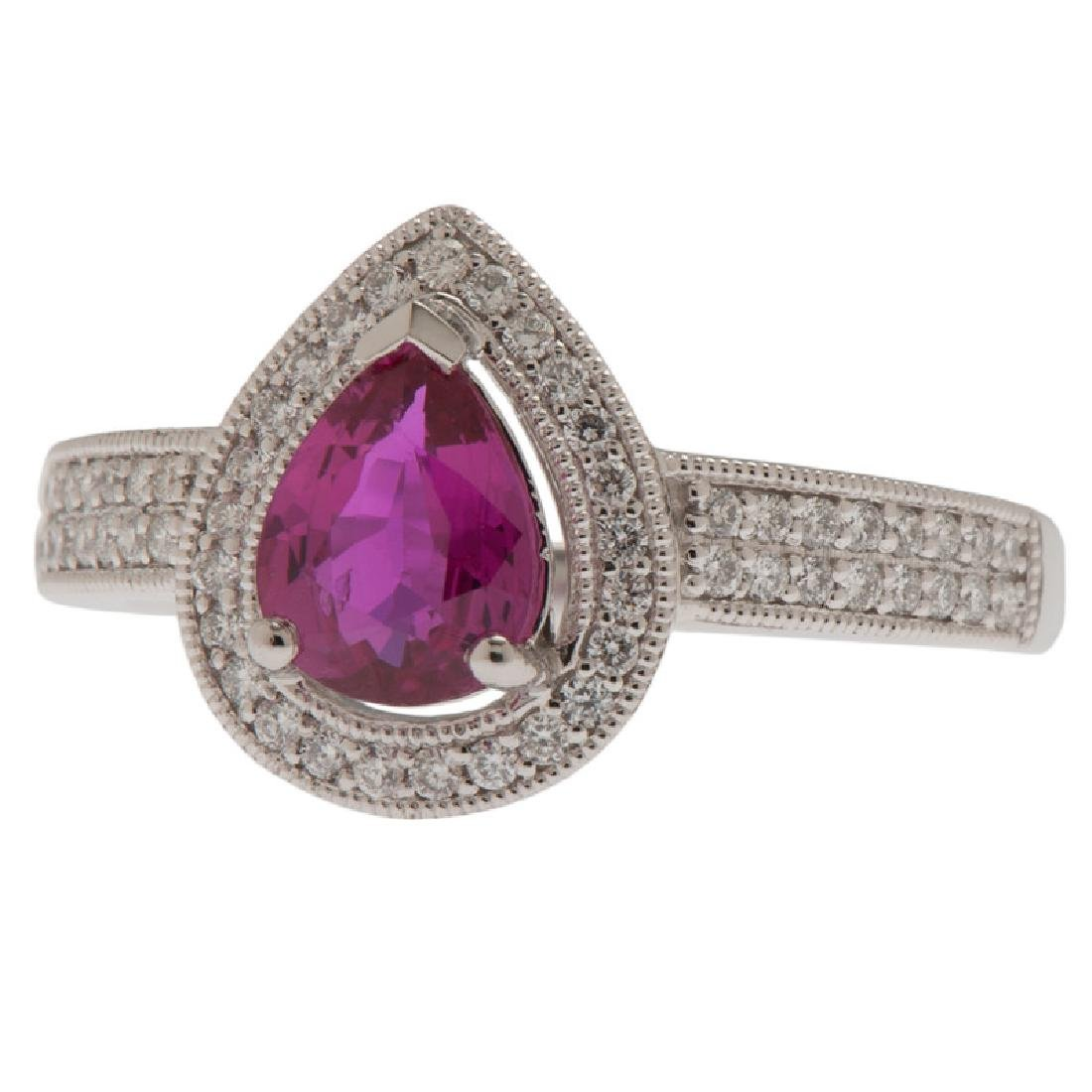 Orianne Platinum Ruby and Diamond Ring with GIA