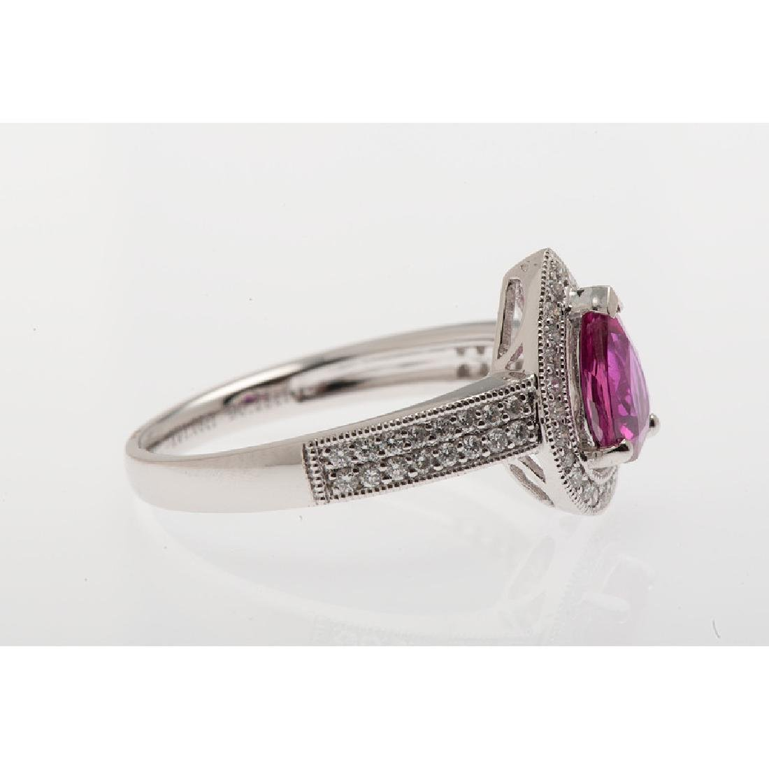 Orianne Platinum Ruby and Diamond Ring with GIA - 4