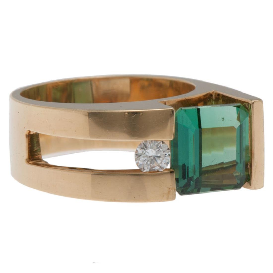 18 Karat Yellow Gold Tourmaline and Diamond Ring