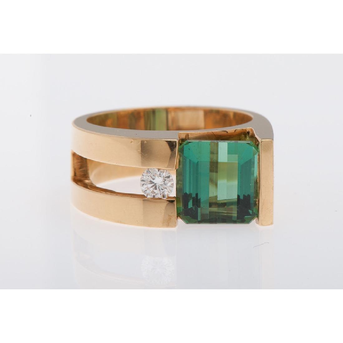 18 Karat Yellow Gold Tourmaline and Diamond Ring - 2