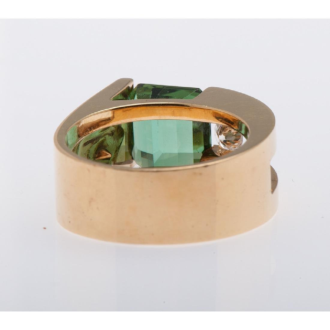 18 Karat Yellow Gold Tourmaline and Diamond Ring - 3