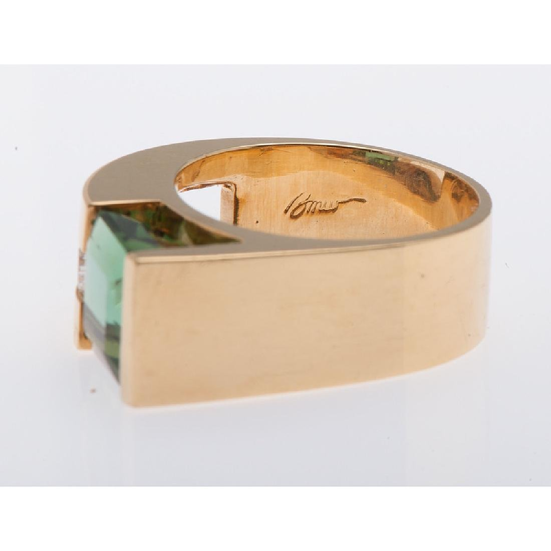 18 Karat Yellow Gold Tourmaline and Diamond Ring - 4