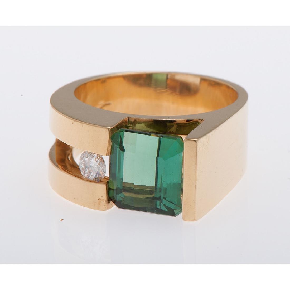 18 Karat Yellow Gold Tourmaline and Diamond Ring - 5