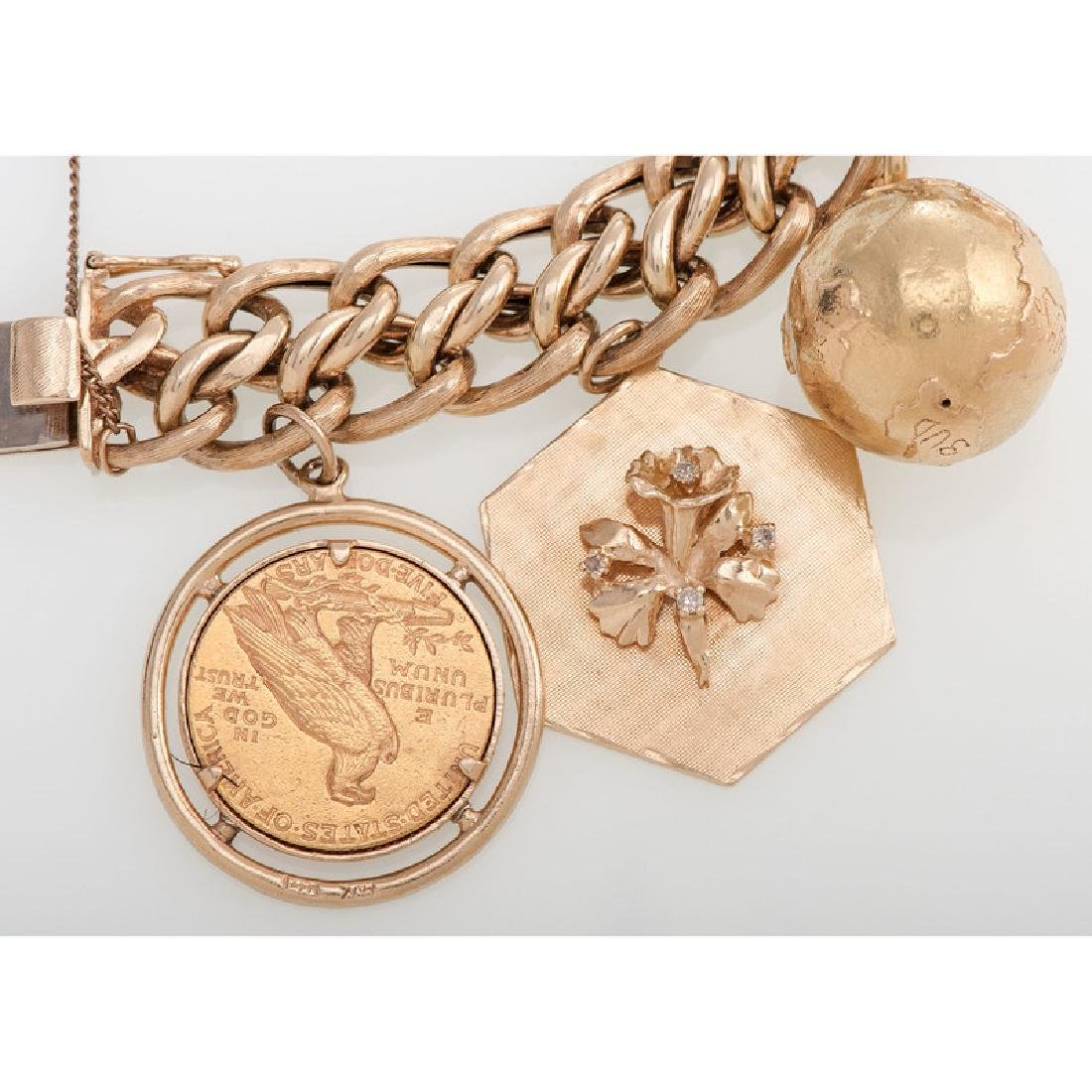 14 Karat Yellow Gold Charm Bracelet - 3