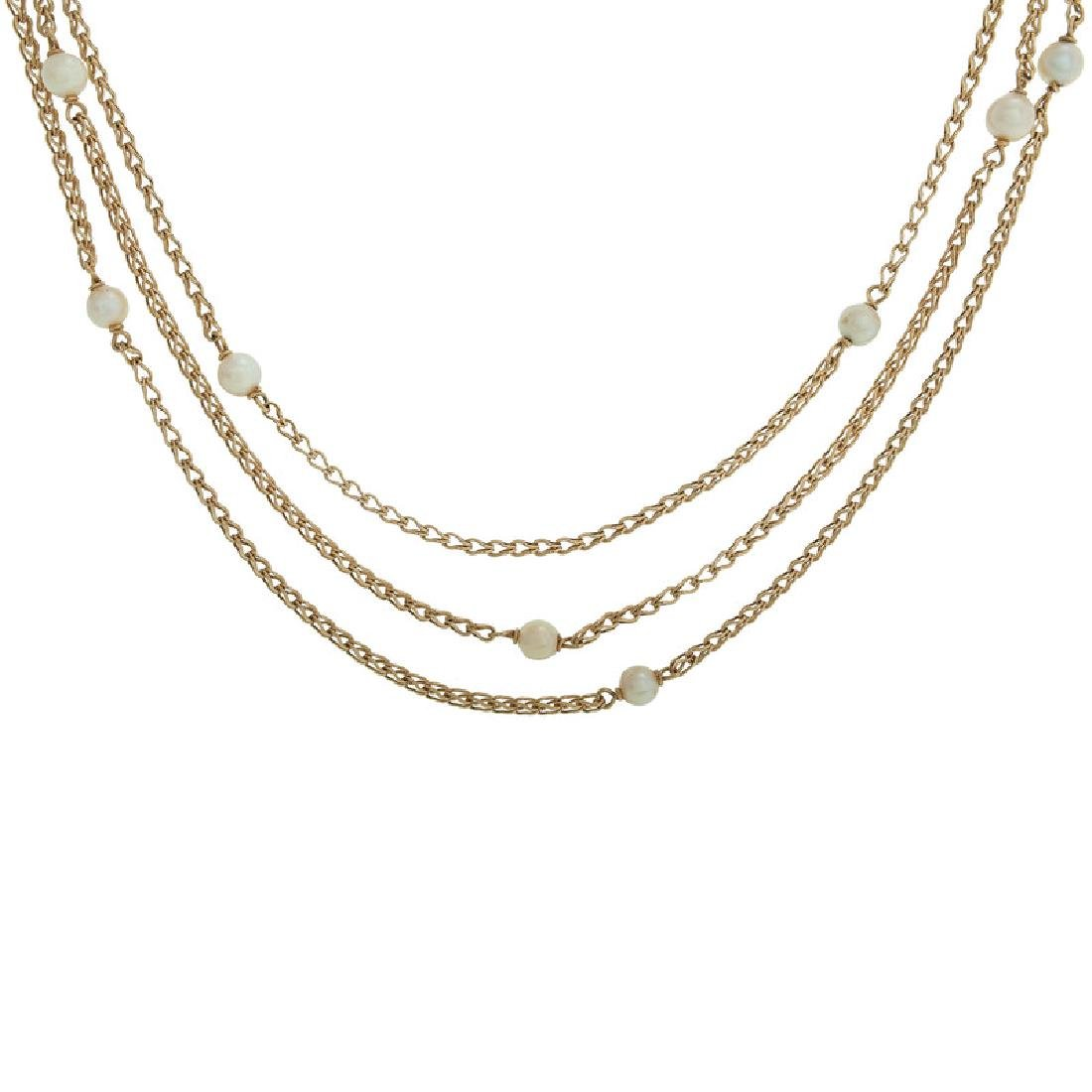 18 Karat Yellow Gold Cultured Pearl Station Necklace