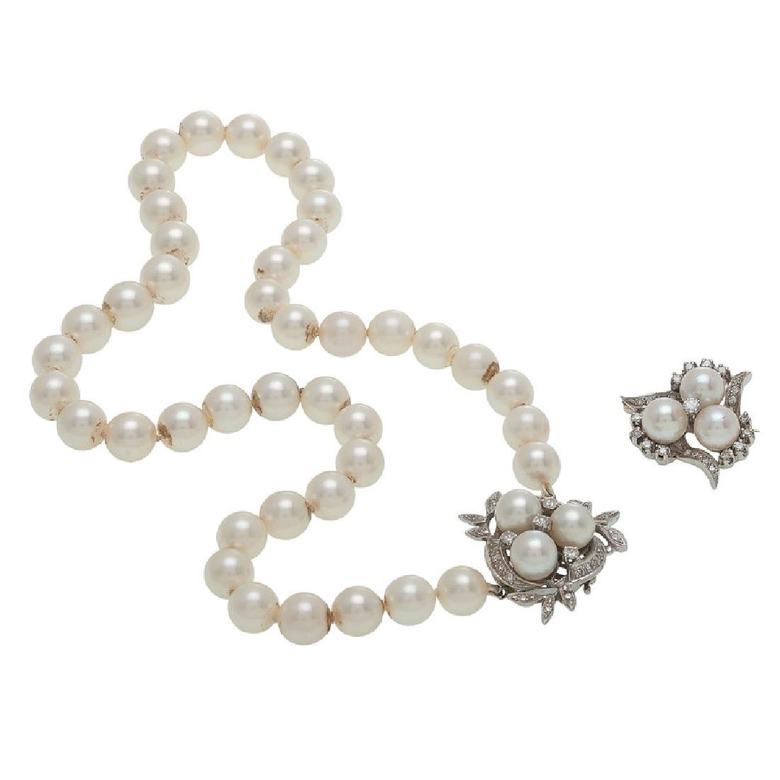 14 Karat White Gold Pearl Necklace and Brooch
