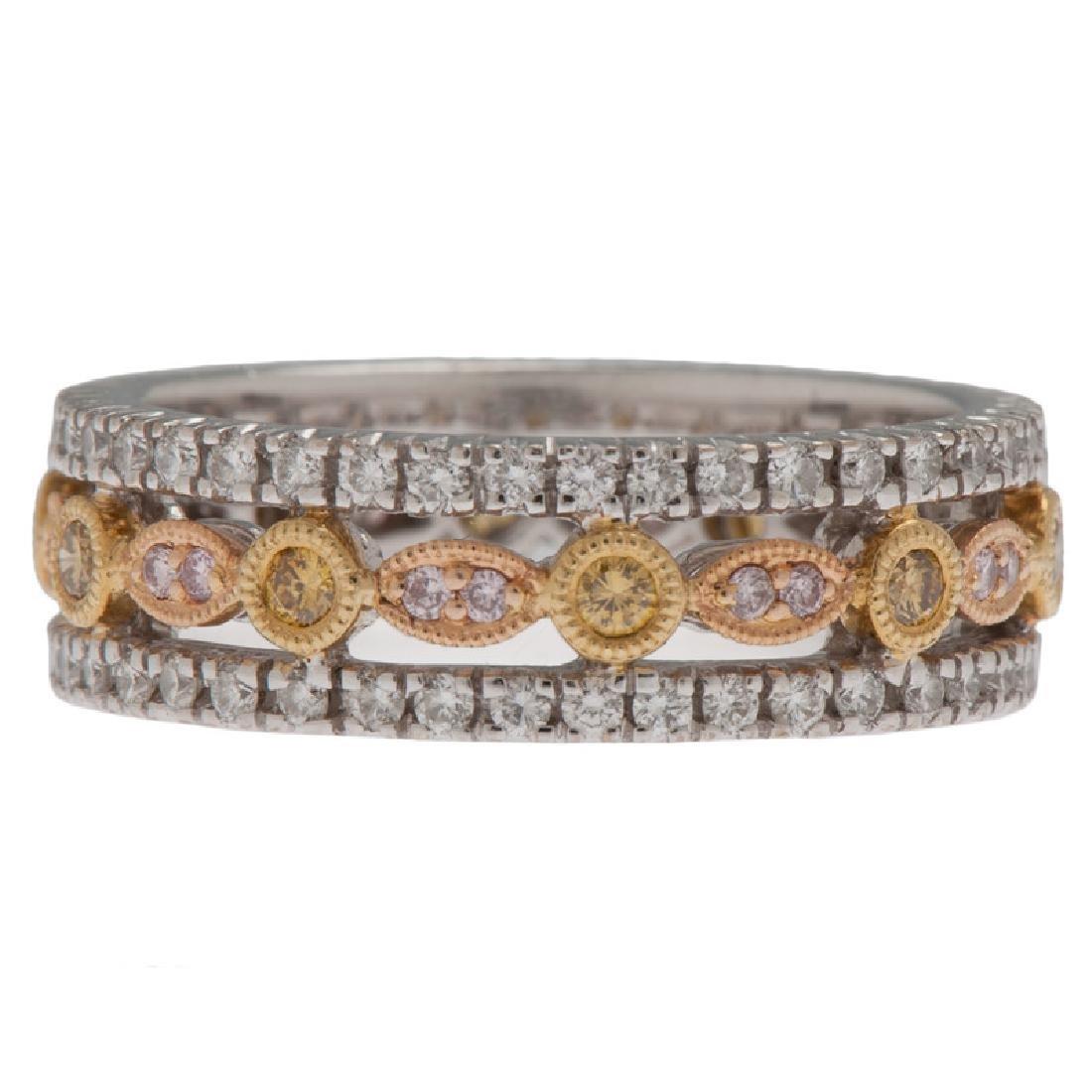 18 Karat Tri-Color Gold Diamond Eternity Band