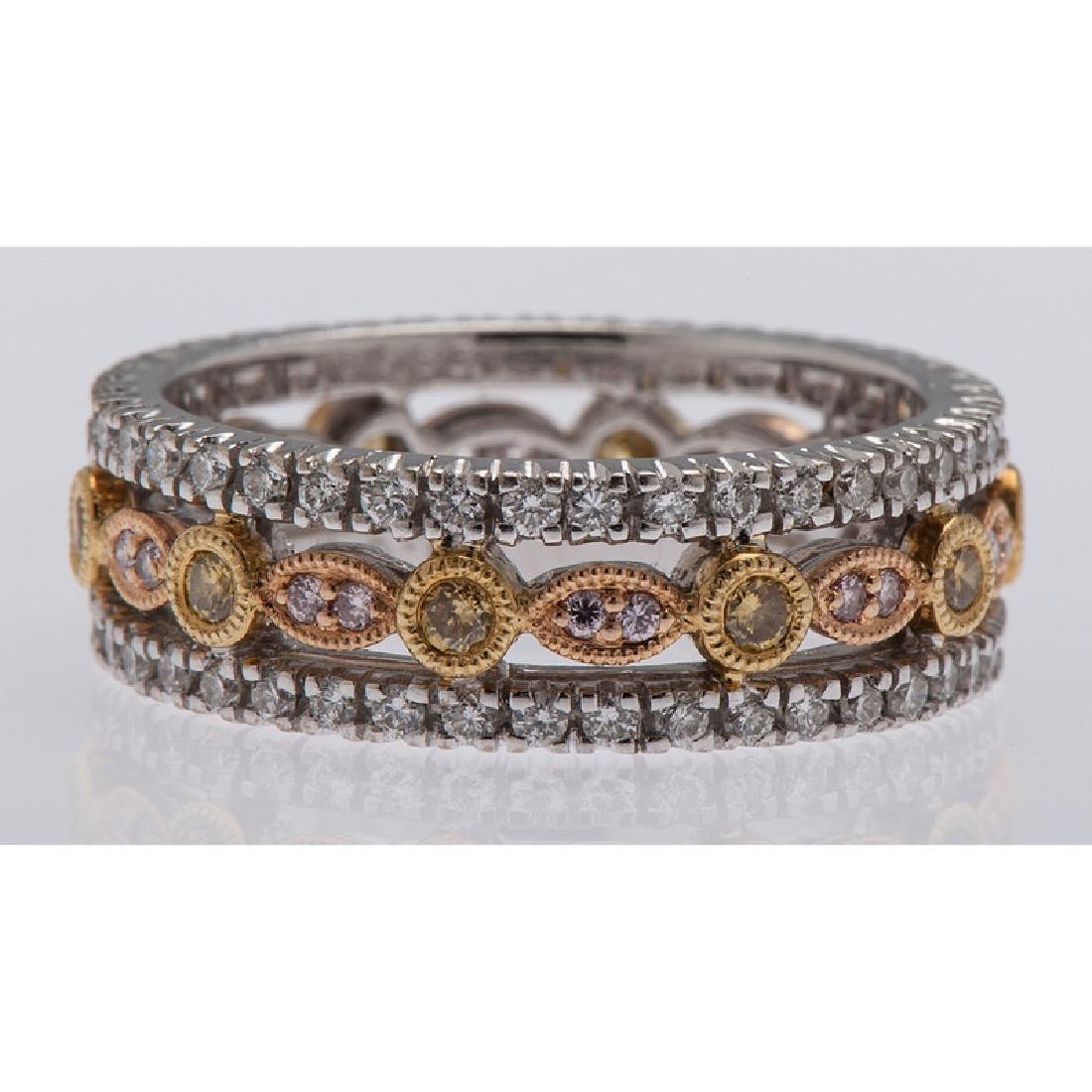 18 Karat Tri-Color Gold Diamond Eternity Band - 2