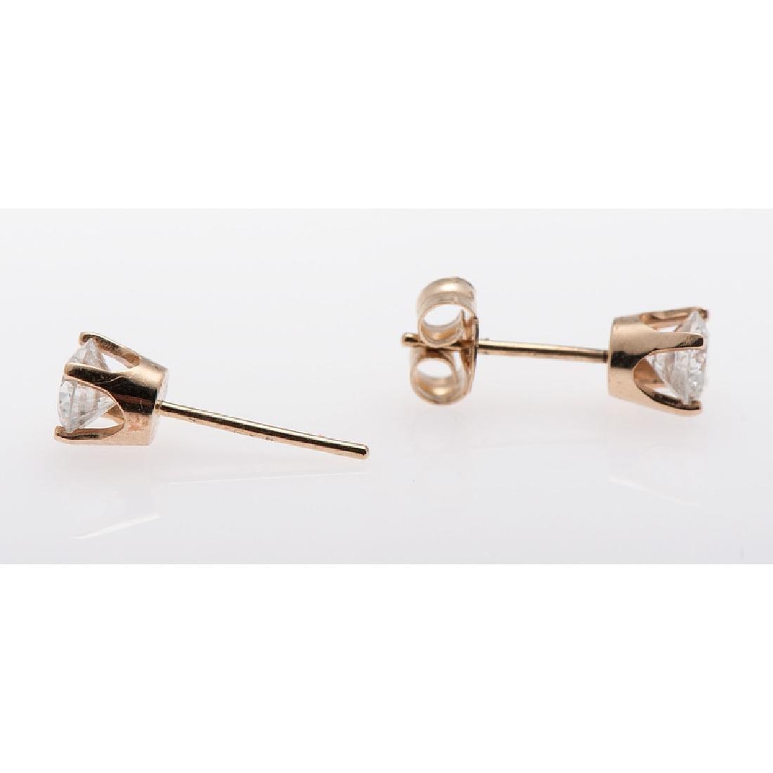 14 Karat Yellow Gold Diamond Earrings - 2