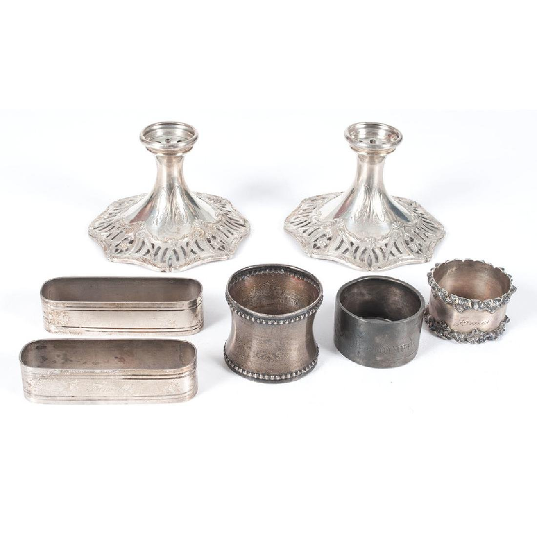 Sterling Napkin Rings and Candleholders