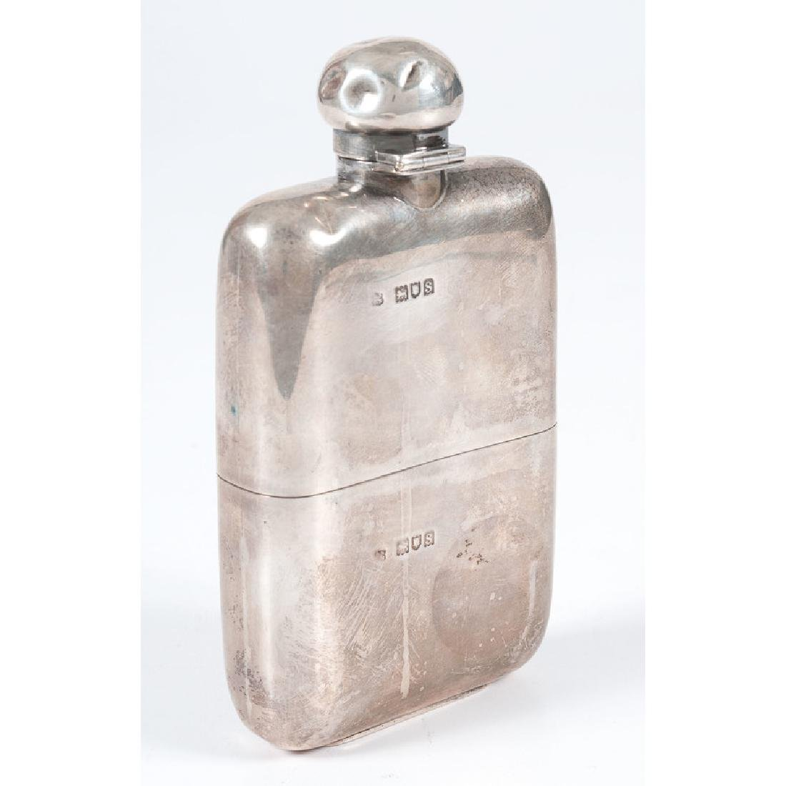 English Sterling Hip Flask - 2