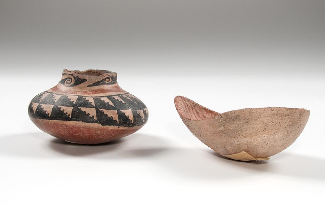 Salado Polychrome Pottery Jar and Hohokam Pottery Ladle - 2