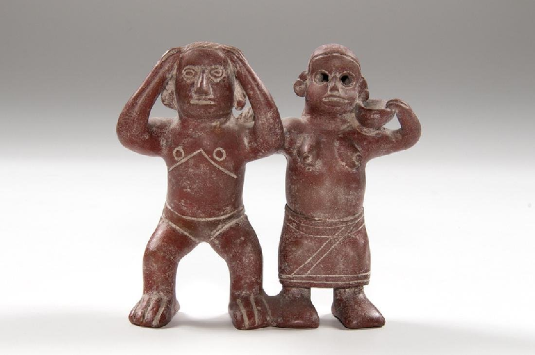 Redware Pottery Double Figure, Likely Nayarit or Colima