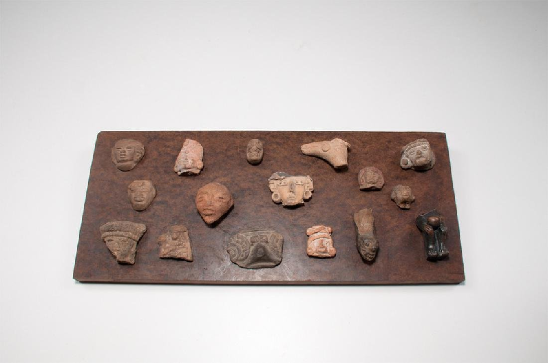 Selection of Pre-Columbian Fragments Mounted to Board