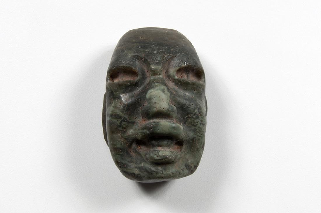Chontal Mayan or Olmec Jade Mask Pendant