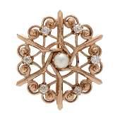 14 Karat Yellow Gold Pearl and Diamond Brooch