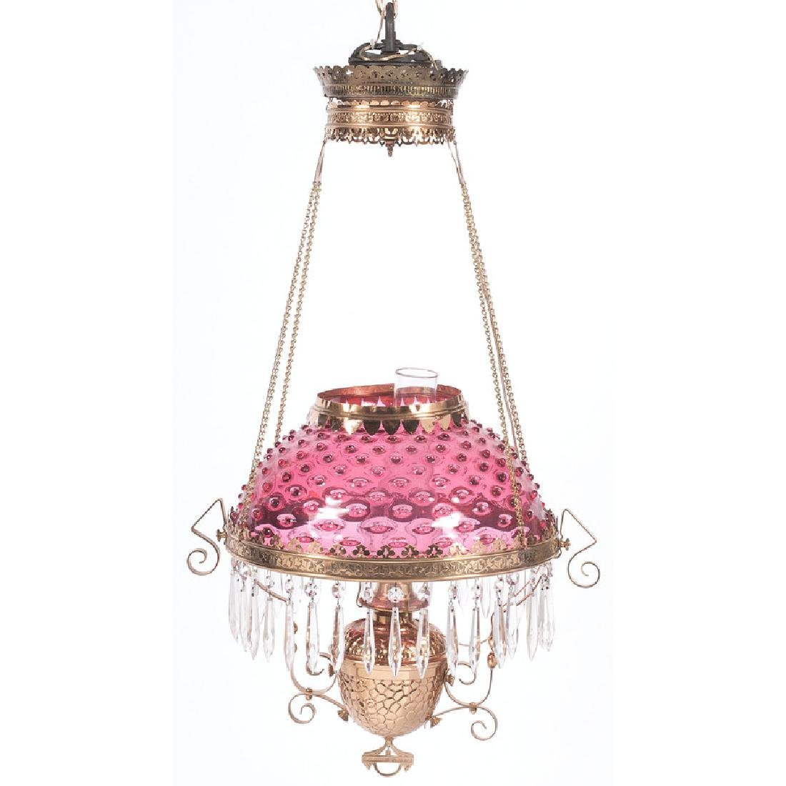 Cranberry Glass Chandelier with Prisms