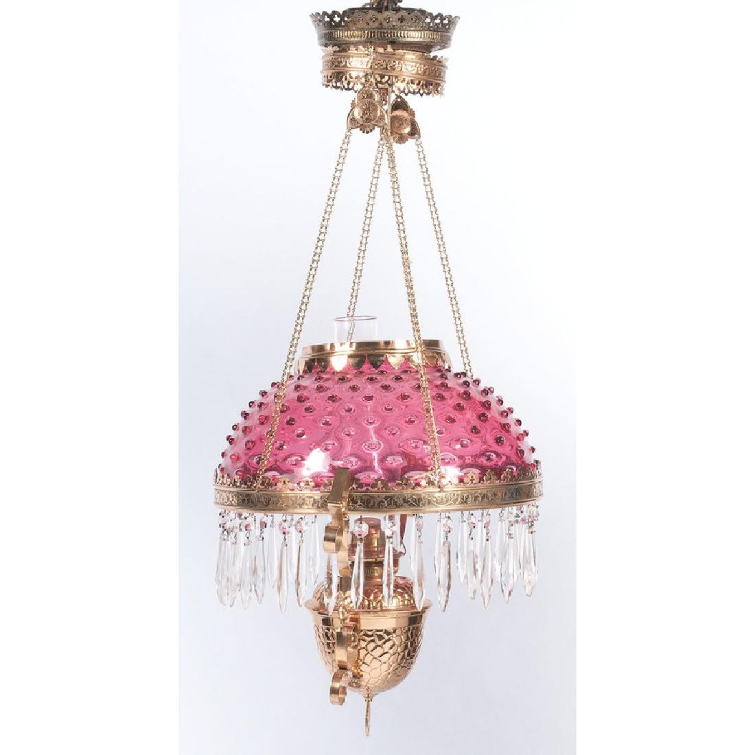 Cranberry Glass Chandelier with Prisms - 2