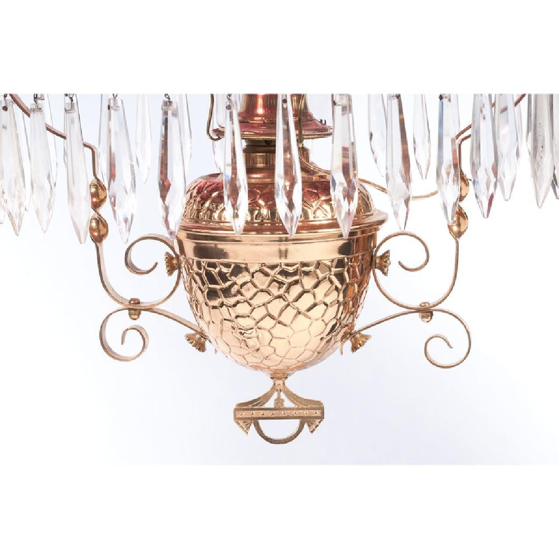 Cranberry Glass Chandelier with Prisms - 3