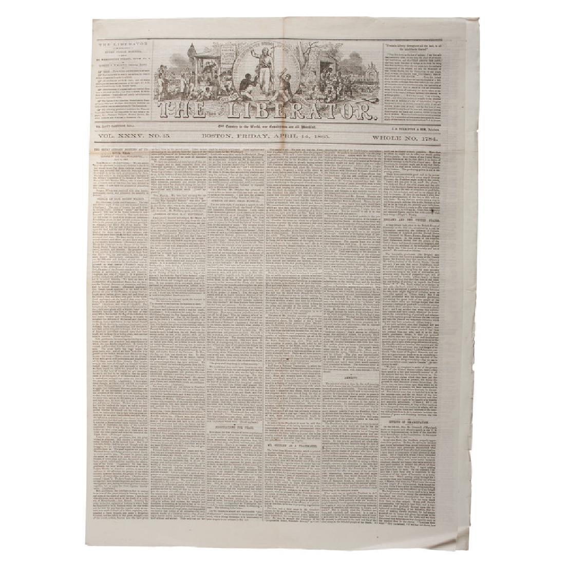 Anti-Slavery Newspaper, Liberator, Covering Surrender