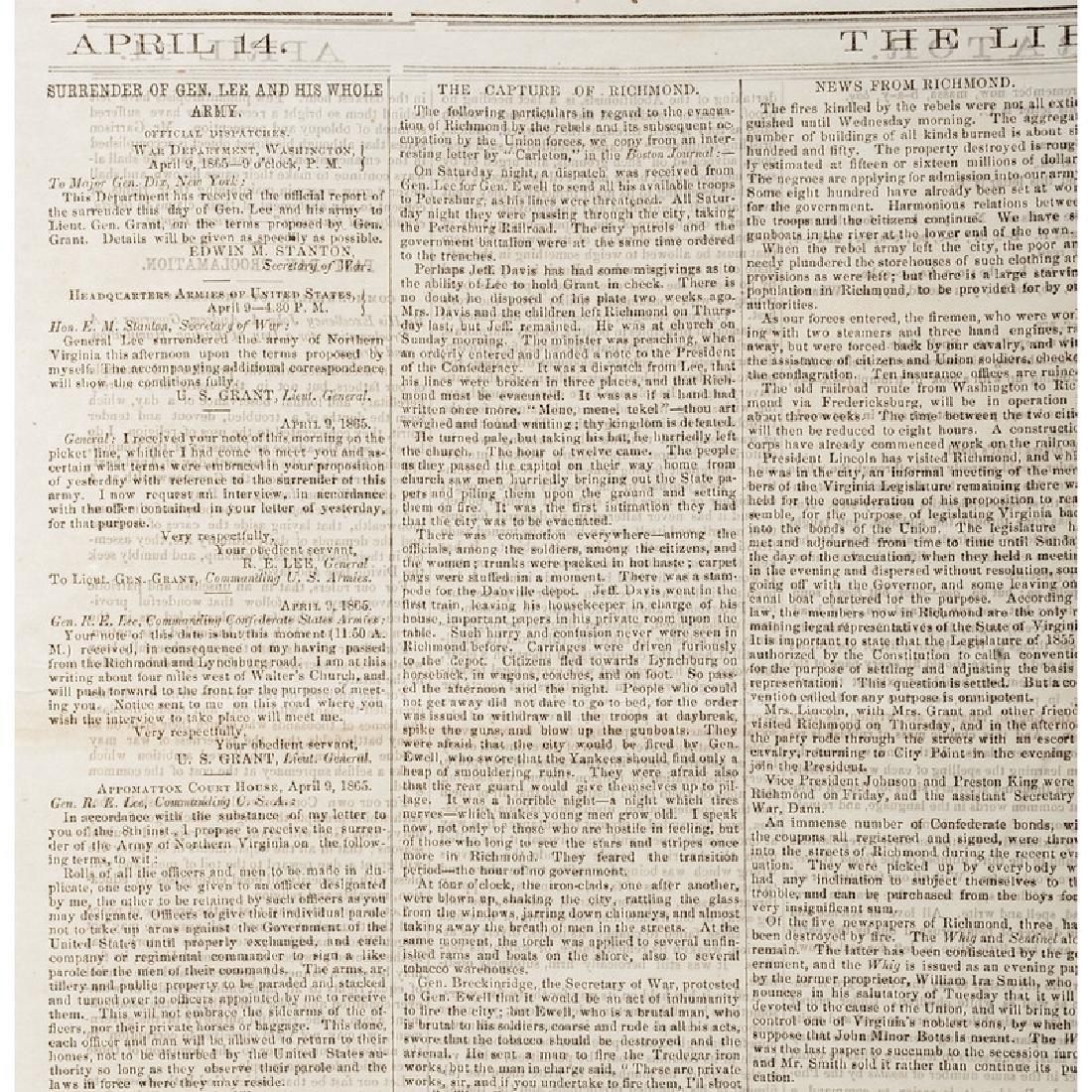 Anti-Slavery Newspaper, Liberator, Covering Surrender - 3