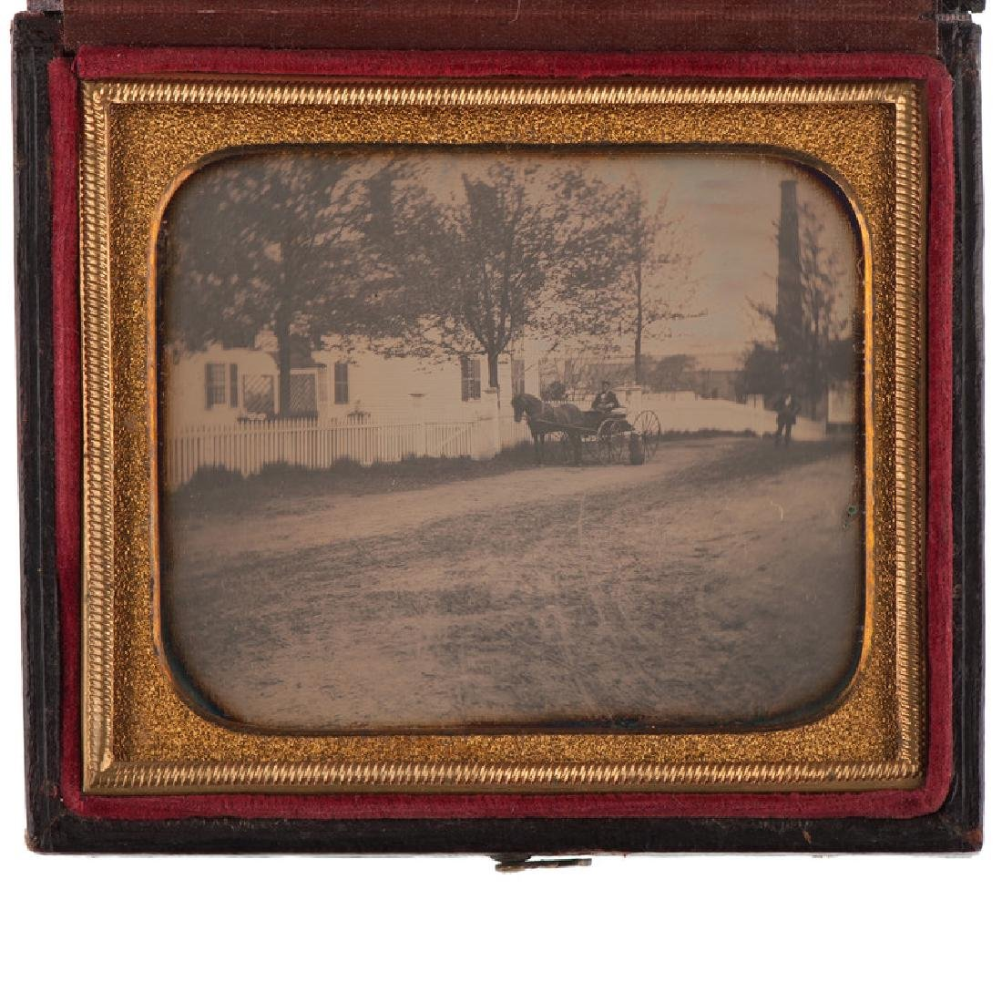 Sixth Plate Outdoor Daguerreotype of Horse and Buggy