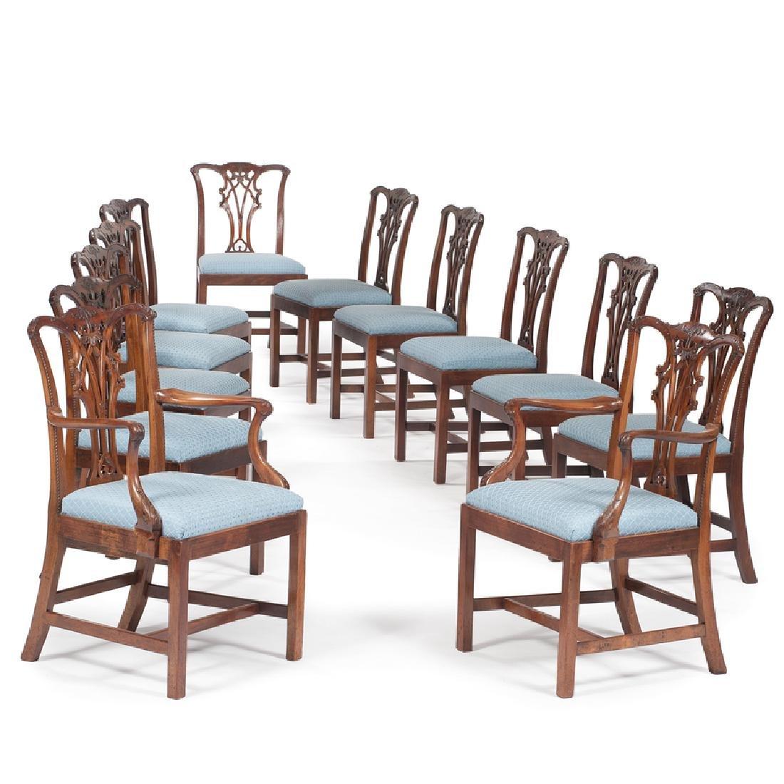 Twelve George III Chippendale Chairs