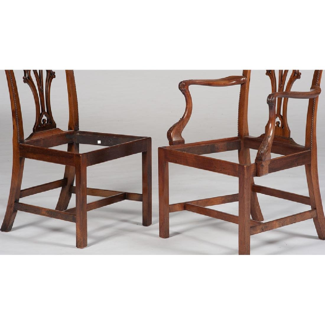 Twelve George III Chippendale Chairs - 3