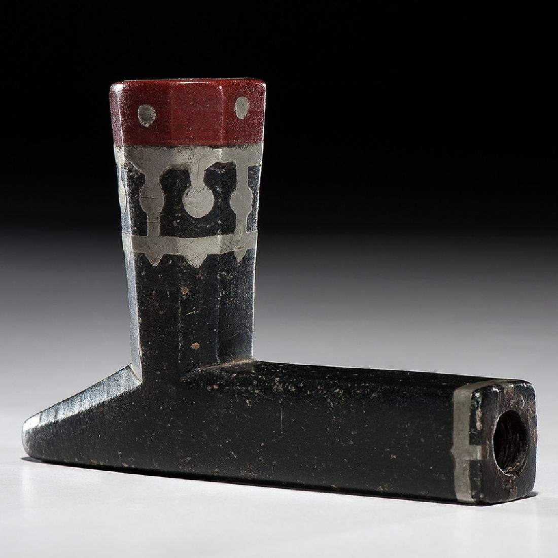 A Great Lakes Steatite Inlay Pipe