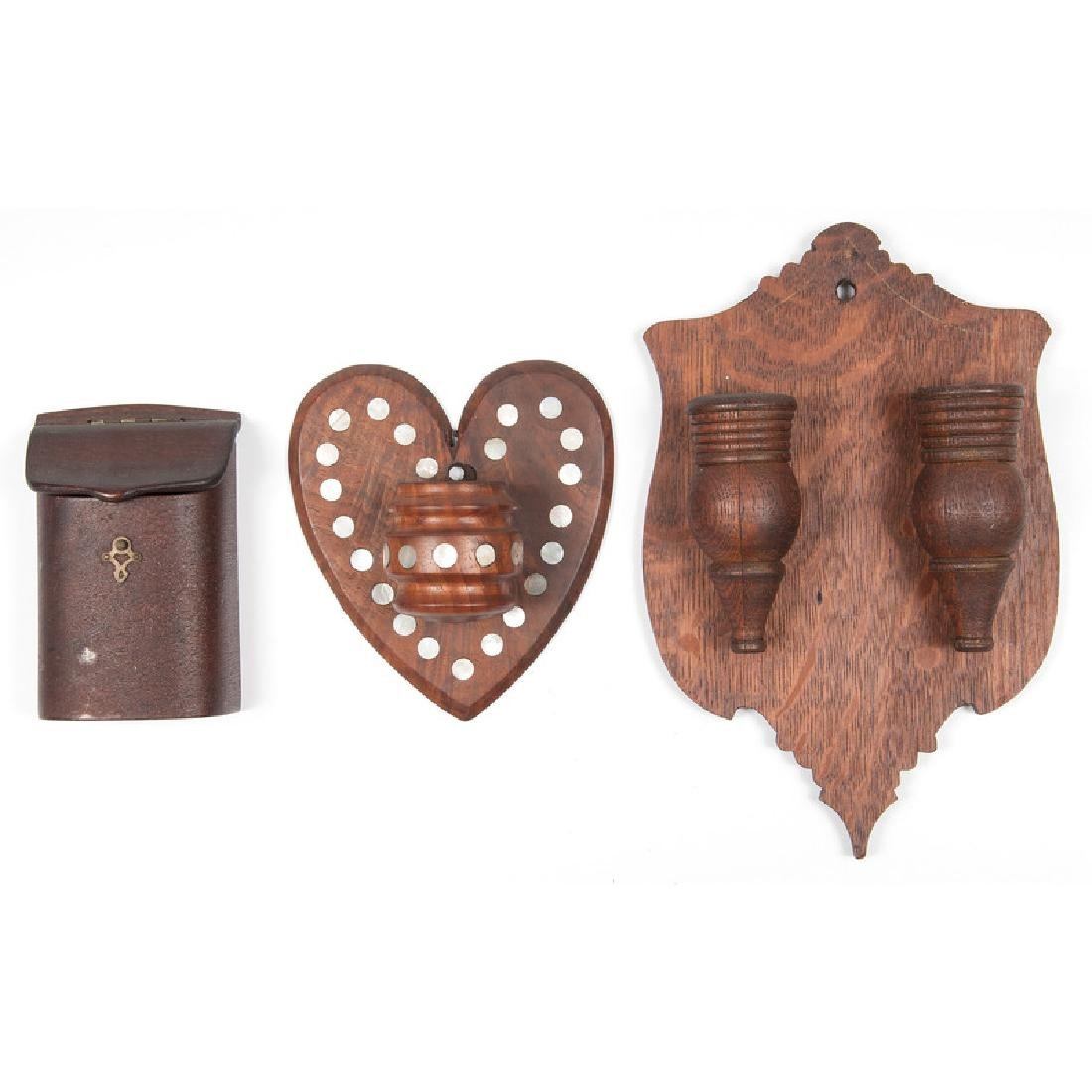 Three Wooden Match Holders