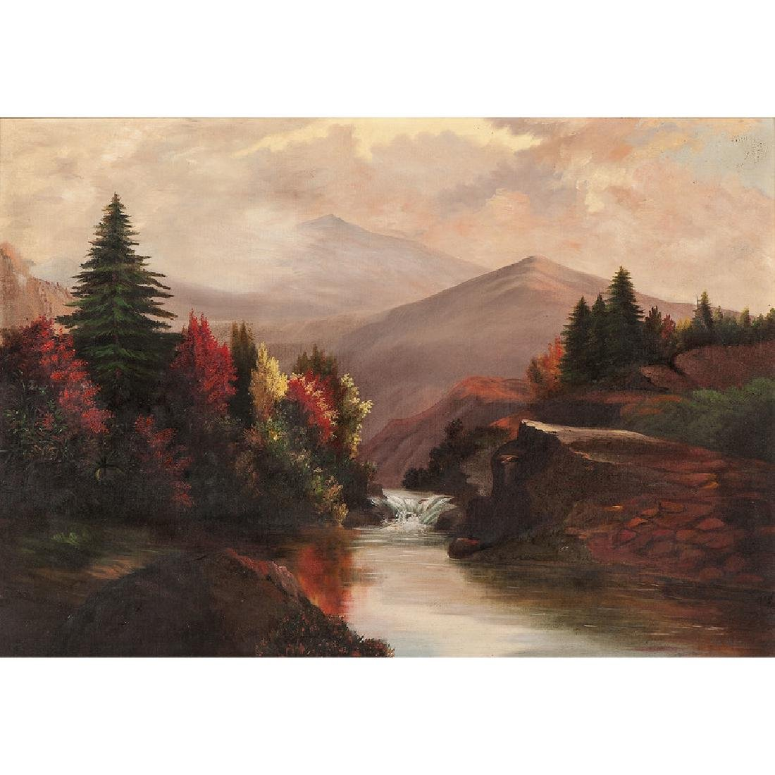 20th-Century Mountain Landscape, Signed Raeburn, Oil on