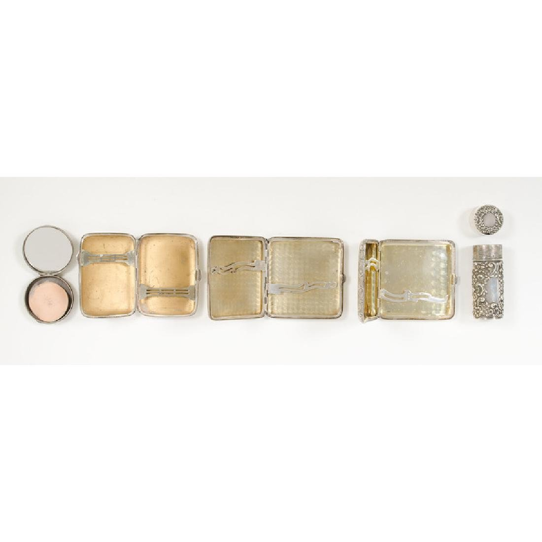 Sterling Cigarette Cases, Perfume Bottle and Compact - 2