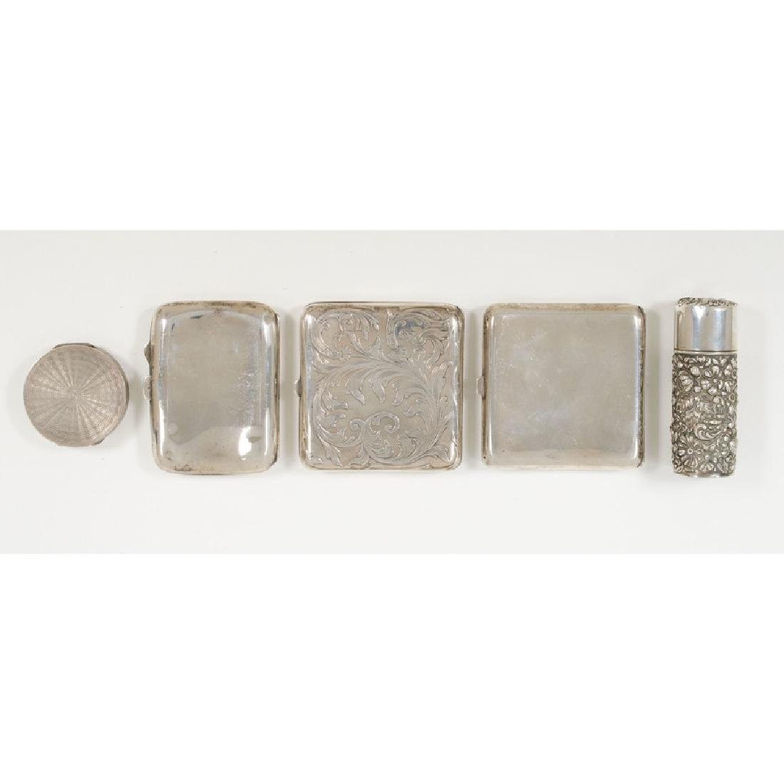 Sterling Cigarette Cases, Perfume Bottle and Compact - 3