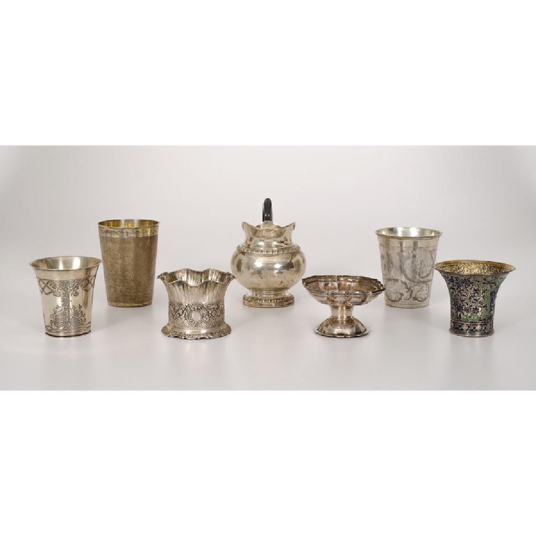 European Silver Beakers, Creamer and Open Salt
